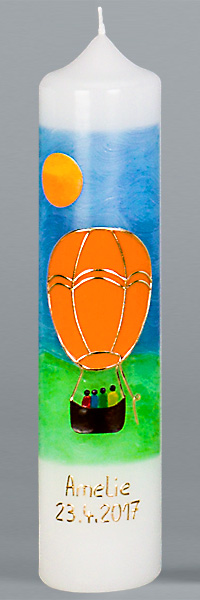Kommuniontischkerze, 4906, 265x60, weiß, Heißluftballon