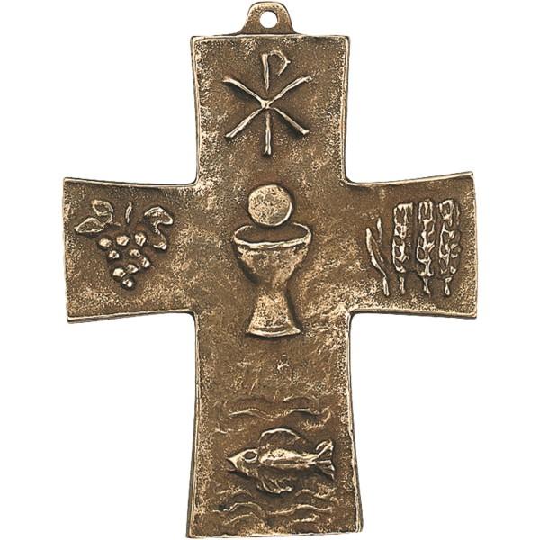 Bronzekreuz 142044, h=10cm, Fisch+Ähre+Traube..