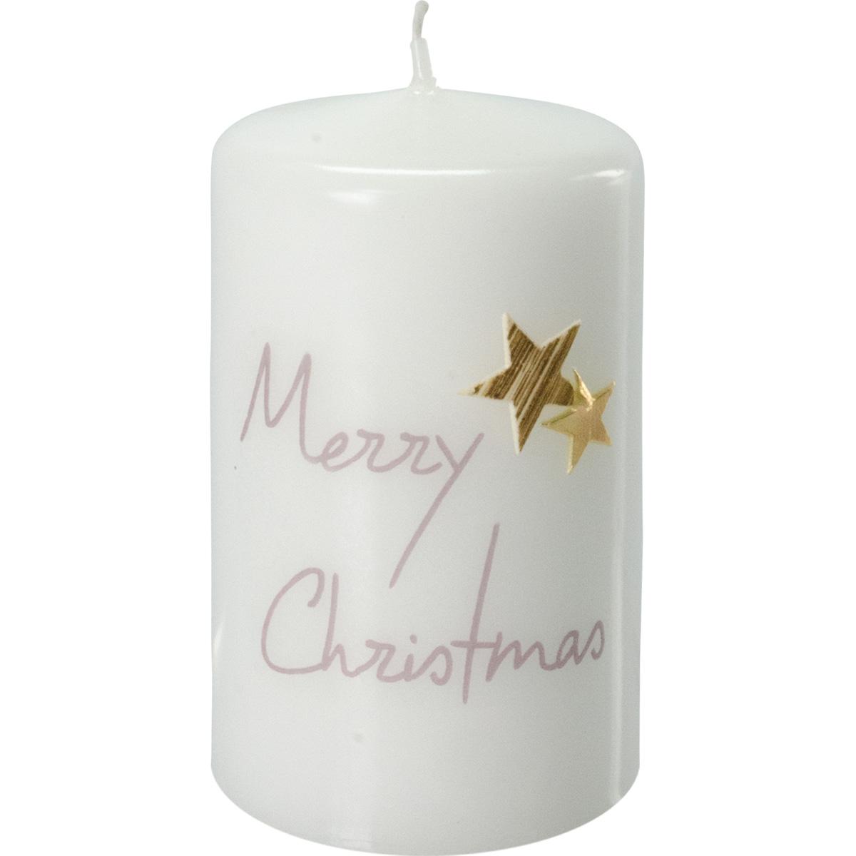 Weihnachtskerze, 2767, 100x60, weiß, Merry Christmas