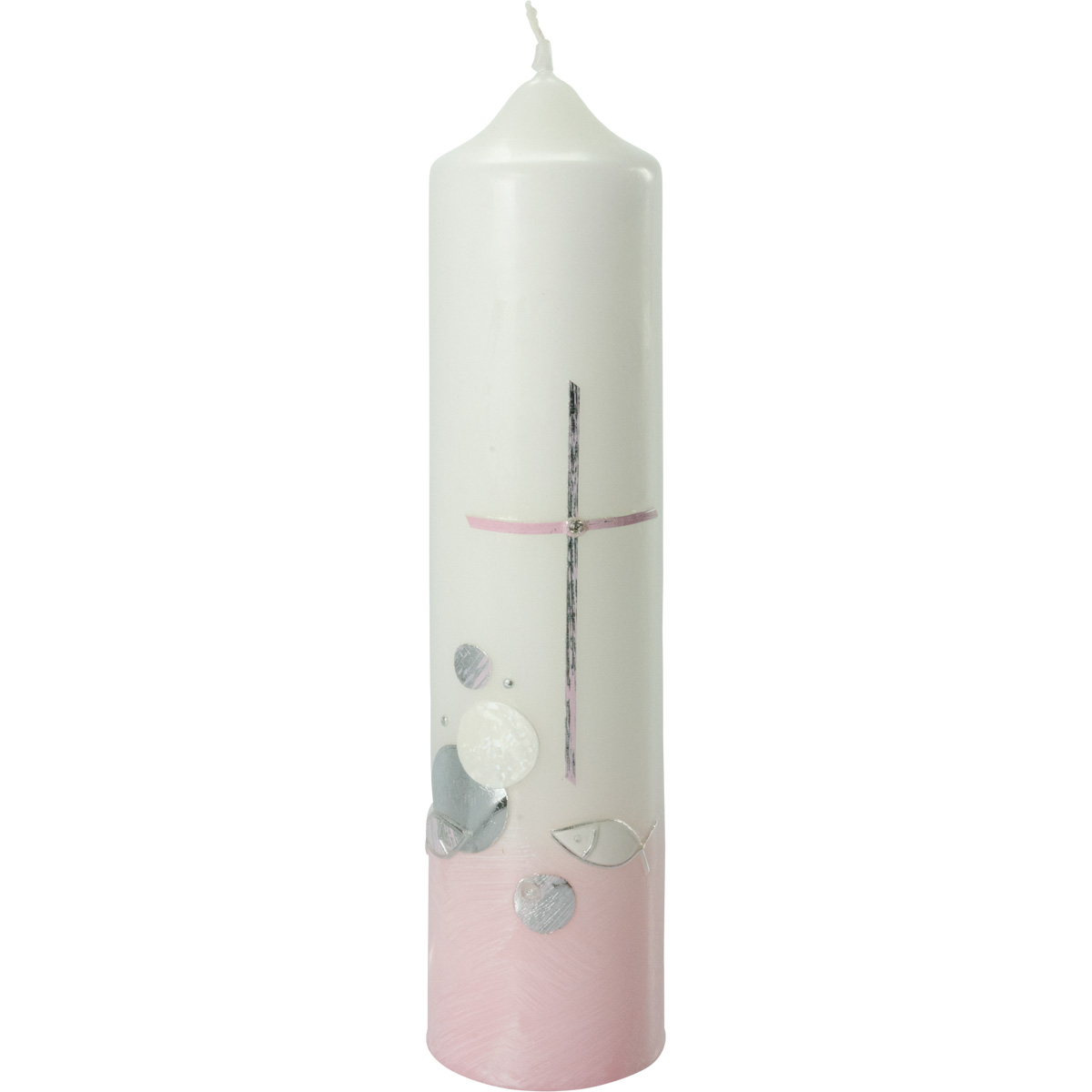 Taufkerze, #2072, Höhe=265mm, Ø=60mm, rosa, silber