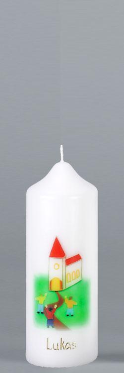 Patenkerze, P110, 165x60, weiß, Kirche / Das Haus Gottes lebt