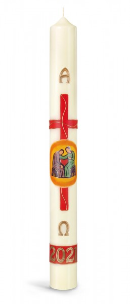 Osterkerze, Kreuz rot, seid barmherzig / 2021 - Jahr der Familie