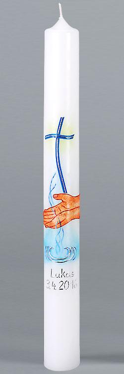 Kommunionkerze, 5872, Jesus, Wasser des Lebens, silber, Größe wählbar