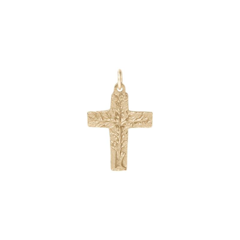 Bronzekreuz, 809418, Lebensbaum / Silberbronze, 4,5x3cm