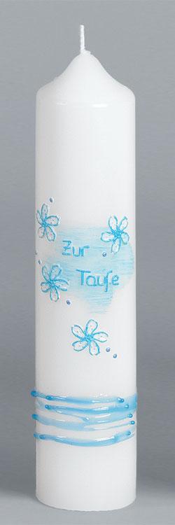 Taufkerze, 2007, 265x60, blau, ---Abverkauf---