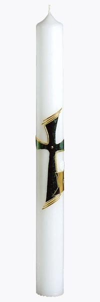 Kommunionkerze, 1246, 400x40, weiß, Kreuz, Kelch, ---Abverkauf---