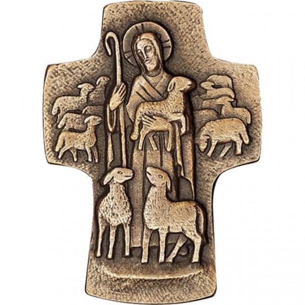 Bronzekreuz, 800590, Guter Hirte, 9,5x6,5cm