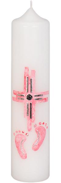 Taufkerze, 3002, 265x60, weiß, Kreuz, Füße, rosa, silber