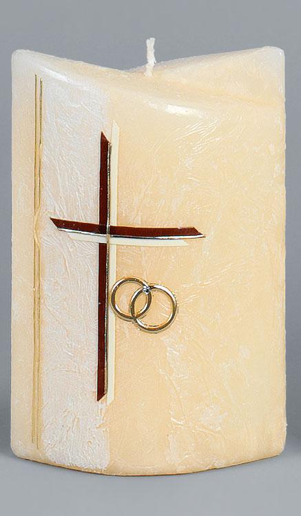 Hochzeitskerze, 2243, Formkerze 180x125x75, gold, ---Abverkauf---