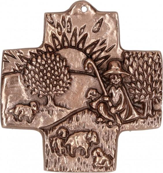 Bronzekreuz, 1422224, Guter Hirte, Höhe 7 cm