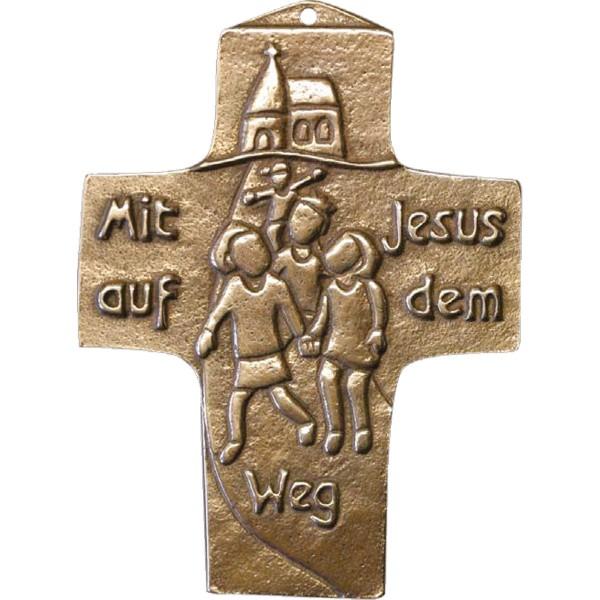 Bronzekreuz 142175, Mit Jesus auf dem Weg, Höhe 10 cm