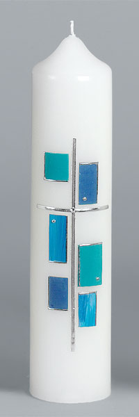 Liturgische Kerze, 2636, 265x60, Wachskreuz, silber, ---Abverkauf---