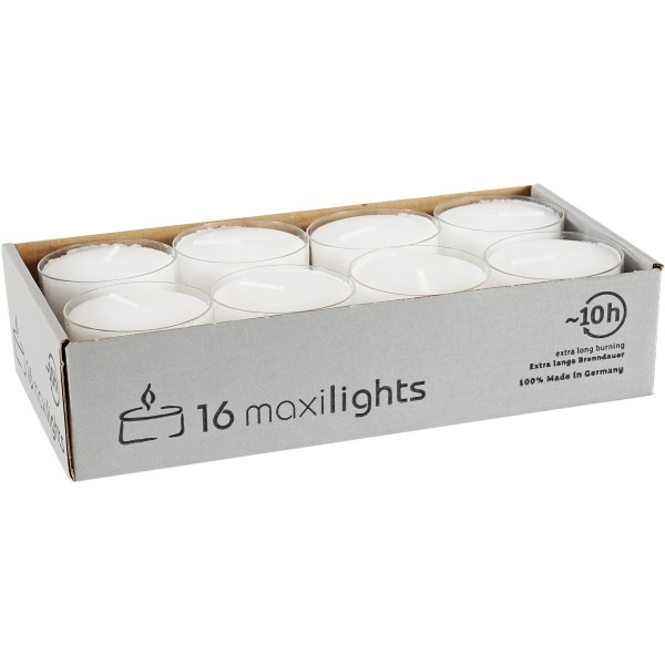 16 Maxi-Teelichte Ø54mm, transp. Hülle, ~10h, maxilights, Aktionspreis!