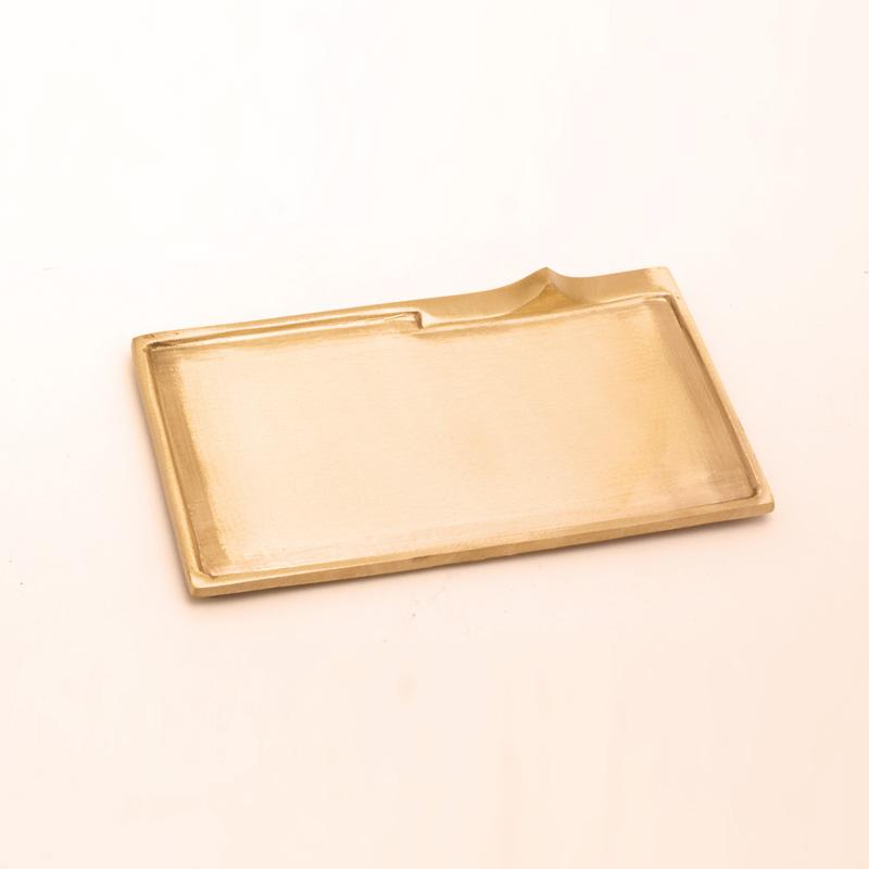 Rechteckleuchter groß, gold matt, 17 x 9 cm
