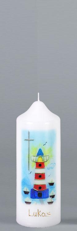 Patenkerze, P112, 165x60, weiß, Leuchtturm