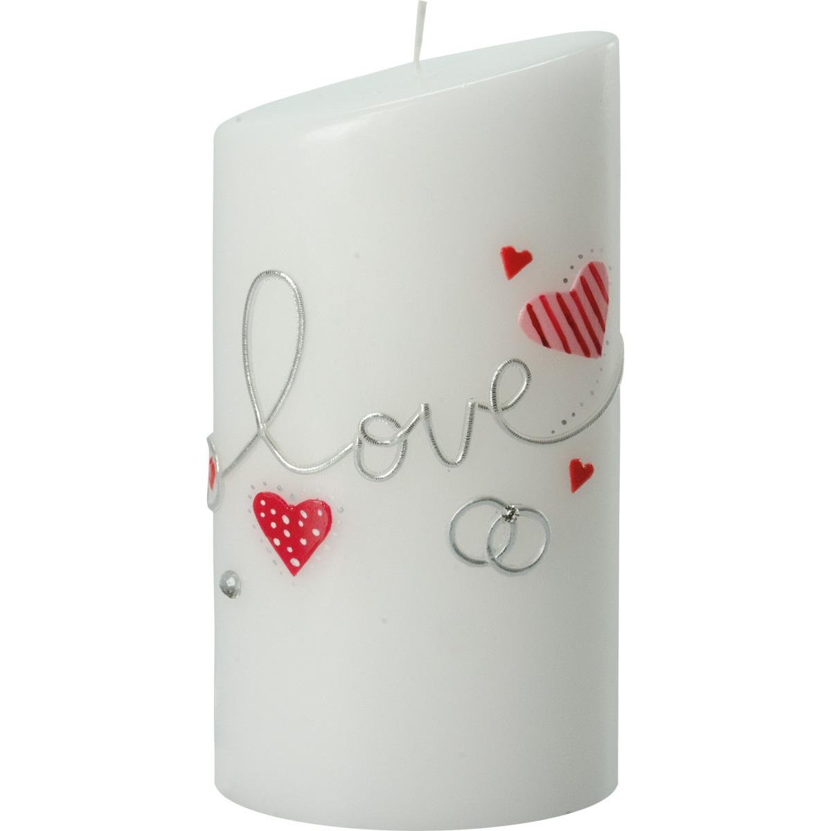 Hochzeitskerze, 5001, Oval 180x90x60, -love-, rote Herzen, silber