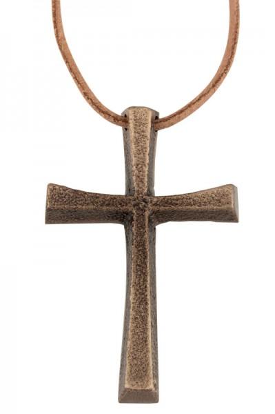 Bronzekreuz, Umhängekreuz, Ministrantenkreuz, 6cm, mit Band
