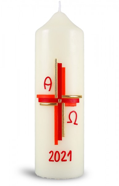 Ostertischkerze, 21.otk-02, Kreuz, rottöne, gold, mit Jahreszahl rot