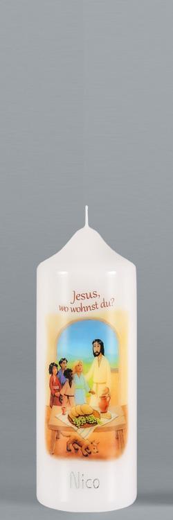 Patenkerze, P124, 165x60, weiß, Jesus, wo wohnst Du?, BFW