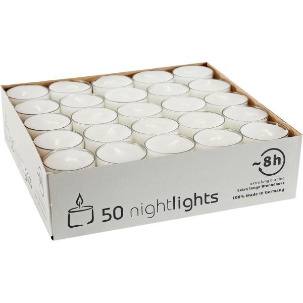 50 Nightlights m. transp. Hülle, Ø38x24mm, ~8h, Aktionspreis!