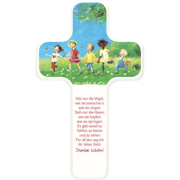 Holzkreuz 330344, h=18cm, weiß lackiert, Dankgebet