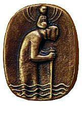 Christophorusplakette CH4, bronze, Durchm. ca. 4,5cm
