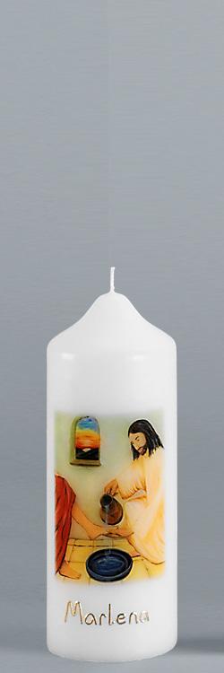 Patenkerze, P122, 165x60, weiß, Eine Liebe, die sich gewaschen hat