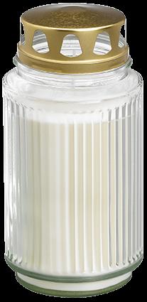Bolsius Grabglas, mit Deckel, ca. 100h, weiß