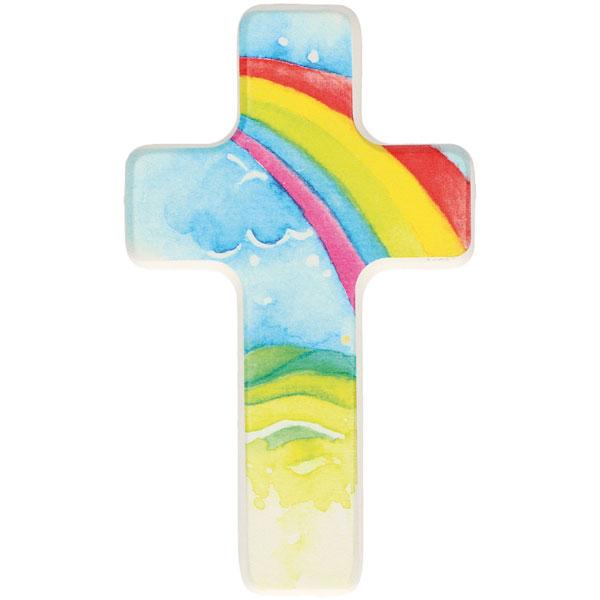 Holzkreuz 330379, h=14cm, Regenbogen, weiß lackiert