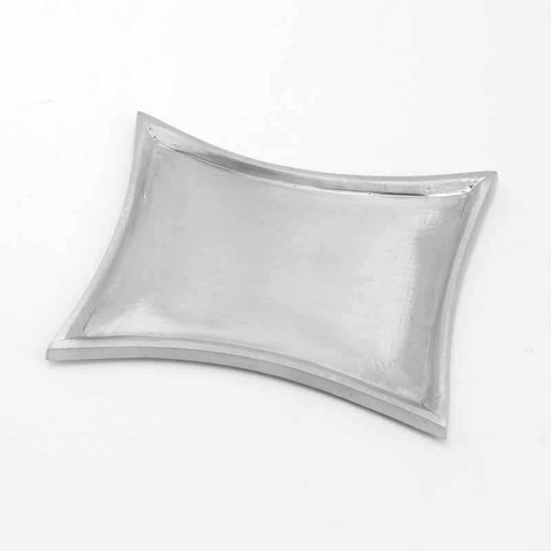 Trapezleuchter klein, silber matt, 11 x 7 cm