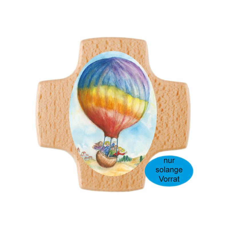 Holzkreuz, 810063, 8x8cm, Buche bedruckt, Heißluftballon, Regenbogen