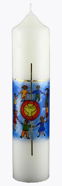 Kommuniontischkerze, 1966, 265x60, weiß, Kinder, Gemeinschaft, Hände