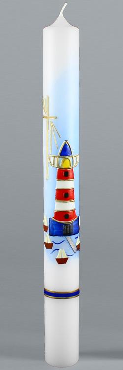 Kommunionkerze, 5846, 400x40, weiß, Leuchtturm, blau, rot, gold