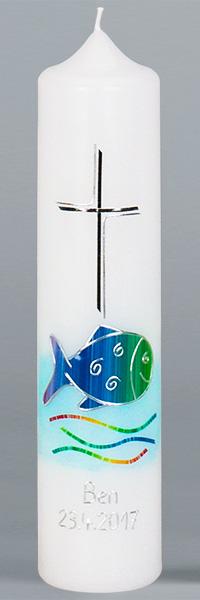 Kommuniontischkerze, 4902, 265x60, weiß, Regenbogenfisch