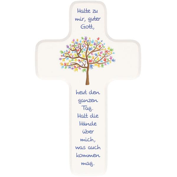 Holzkreuz 330363, h=18cm, Lebensbaum, weiß lackiert