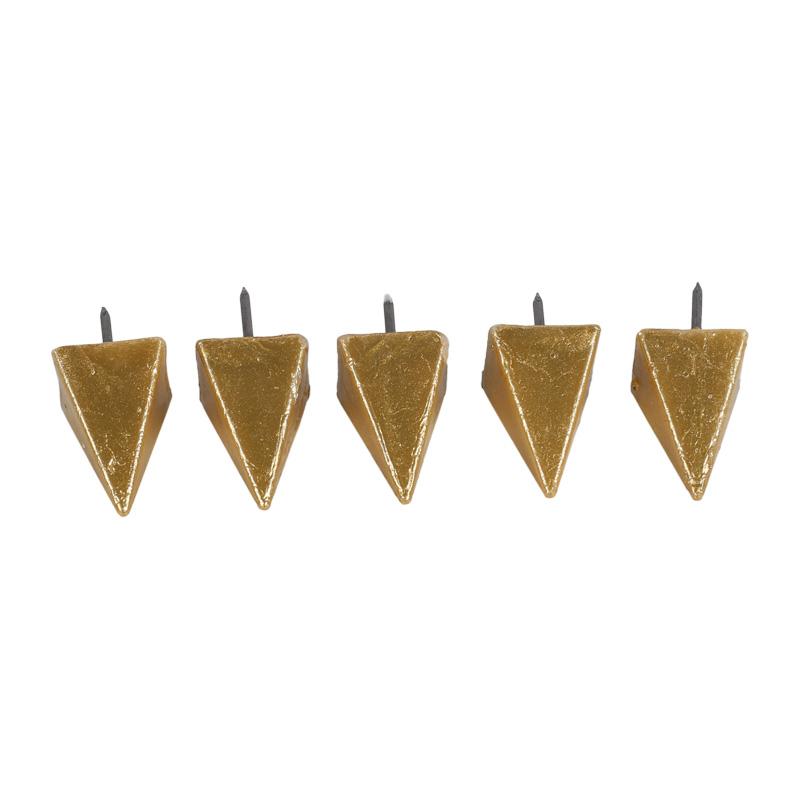5 Wachsnägel, klein, gold, ~17x17x27mm