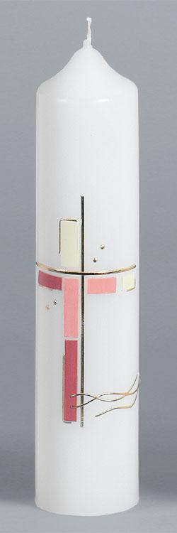 Taufkerze, 2042, 265x60, Kreuz, rosatöne, gold, ---Abverkauf---