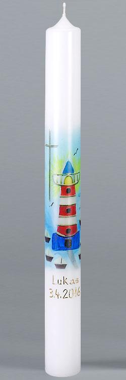 Kommunionkerze, F5887, 400x40, weiß, Fotodruck, Leuchtturm