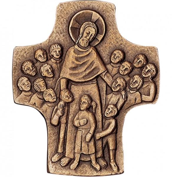 Bronzekreuz, 800241, Jesus der Kinderfreund, 9x8cm