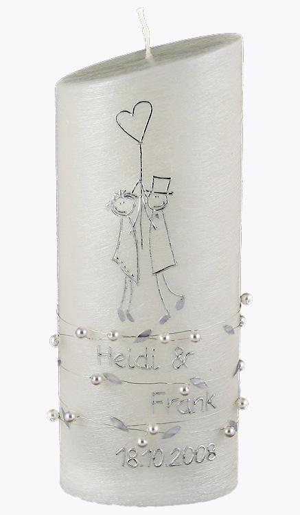 Hochzeitskerze, 4421, Oval 230x90x60, silberstruktur, Balloon, Perlen