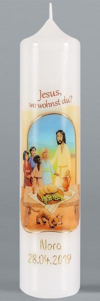 Kommuniontischkerze, 4917, 265x60, weiß, Jesus, wo wohnst Du? gold,BFW