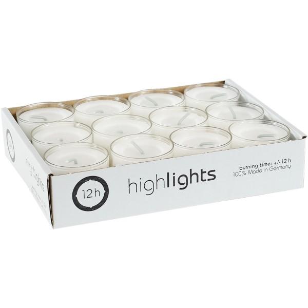 12 Highlights transp. Hülle, Ø38x24mm, ~12h, Aktionspreis!