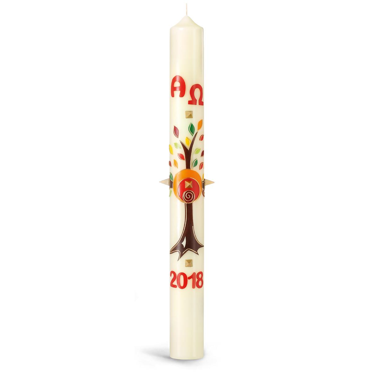 Osterkerze, 18.OK3, Baum, Rot-Orange-Braun, m. roten Nägeln