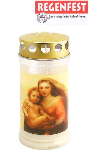 12 Grablichter, Memoriam Nr.412, ~ 4 Tage, Madonna, mit Deckel