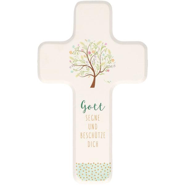 Holzkreuz 330178, h=18cm, Gott segne u. beschütze dich, weiß lackiert