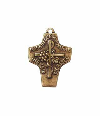 Umhängekreuz, UK32, mit Ring, ohne Kette, 4,5cm, (Weinstock)