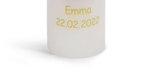 Namen und Datum, als Fotodruck, pauschal je Kerze