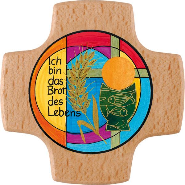Holzkreuz, 810126, Brot des Lebens, 8x8cm