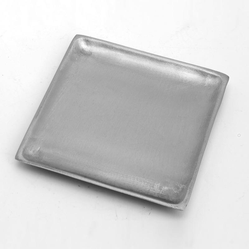 Kerzenteller, quadrat, 9 x 9 cm, silber matt