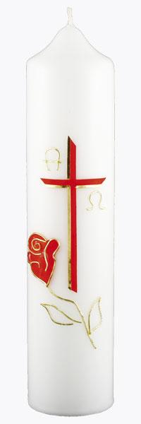 Kommuniontischkerze, 4825, 265x60, weiß, Rose & Liebe, rot, gold